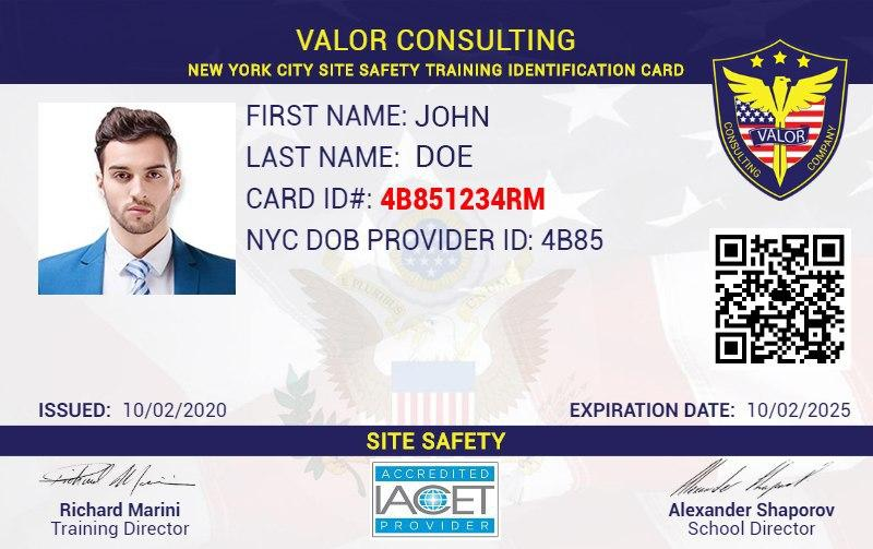 Valor Safety Services Card Example