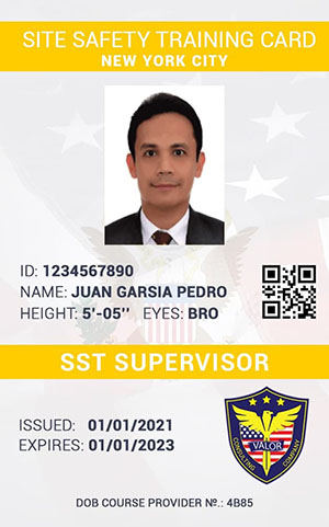 Valor Safety Services SST Card Example